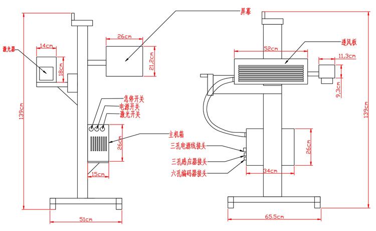 二氧化碳激光打标机机器参数图